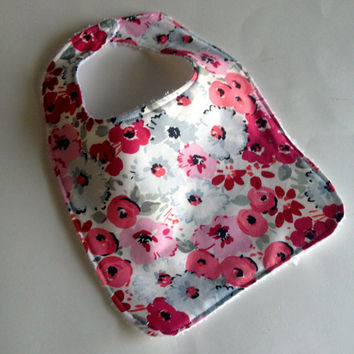 Baby girl bib, Floral baby bib,  Spring baby bib, Pink and gray bib, Flower baby bib, Baby girl baby bib, baby shower gift, Terry cloth b