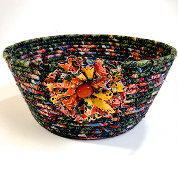 Coiled Rope Organizer Basket  Multi Color Bowl  Green Blue Orange Fiber Art Decor  Upcycled Clothesline Fabric Basket  Backdoor Catch All