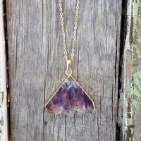 Gold Amethyst Mountain Cut Necklace | Raw Amethyst Triangle | Amethyst Druzy Slice Jewelry | Agate Amethyst Stone | Electroformed Necklace