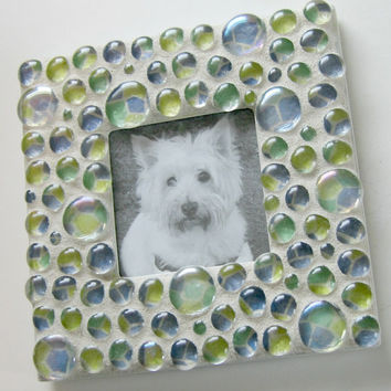 Glass Bubble Picture Frame, Mosaic Glass Picture Frame, Blue Green Frame, Square Picture Frame
