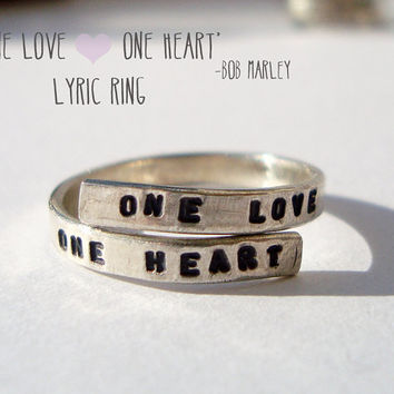 Bob Marley, Handstamped Silver lyric Ring. 'One Love, One Heart' Reggae