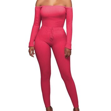 Chloe Off Shoulder Knit Bodycon Jumpsuit - Red