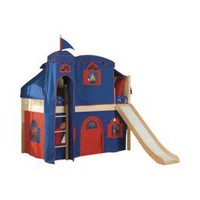 Item: Cottage Low Loft Natural-Bot. Curtain/Top Tent/Tower/Slide - Blue/Red