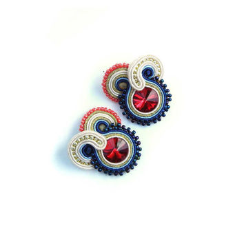 CHRISTMAS SALE 30%,  Blue Earrings, Soutache Jewelry, Soutache Earrings, Blue Red Gold, Statement Jewelry, Lightweight Earrings