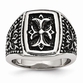 Men's Stainless Steel Black Antiqued Cross Ring