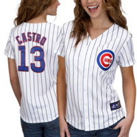 Starlin Castro Chicago Cubs Women's #13 Replica Jersey - White Pinstripe