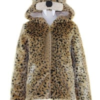 Multicolor Leopard Print Tiger Hooded Faux Fur Coat