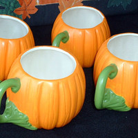 Vintage Handmade Ceramic Pumpkin Cups, Set of 4, Addition Cups Available
