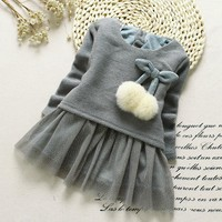 Long Sleeve Knitted Bow Tutu Princess Dress