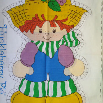 Vintage 1980 Strawberry Shortcake Huckleberry Pie Boy Spring Mills Pillow Doll Fabric Panel American Greetings Kid Girl Child Bedding Craft