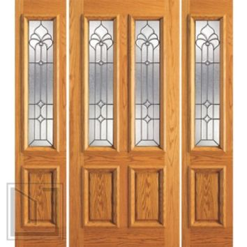 Prehung Mahogany Twin Lite Entry Two Sidelights Door, Glasswork