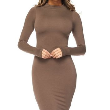 Good vibes only mid length long sleeve dress