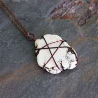Extra Long Necklace - White Stone - Wire-wrapped