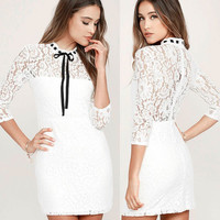 White Collar Bow Slim See-Through Lace Bodycon Dress