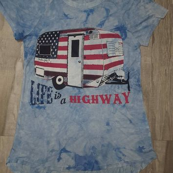 Life is a Highway on Blue Tye Dye Short Sleeve T-Shirt
