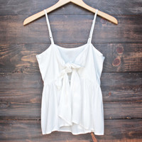 foxy little front tie crop top in coconut