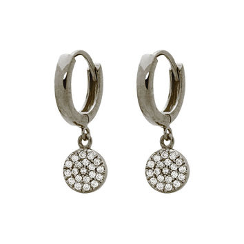 Silver Black Rhodium Plated Huggies Earrings with 8mm Disc Hanging Pave Cz
