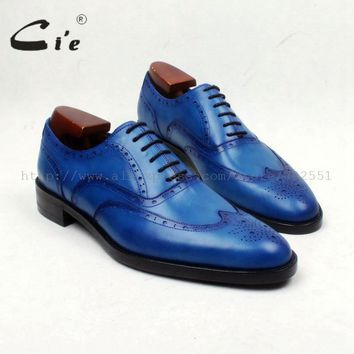 cie Round Toe Full Brogues Lace-Up Hand-Painted Brilliant Blue 100%Genuine Calf Leather Outsole Breathable Men's Shoe DressOX656