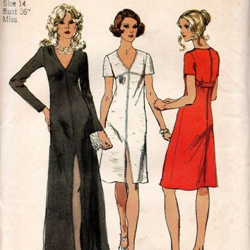 Fancy Disco Style Cocktail Party Dress Simplicity 5056 Sewing Pattern 70s Evening Gown Empire Waist Slim Fit Uncut Bust 36
