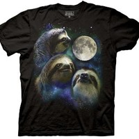 Three Wolf Moon Shirt Parody - Three Sloth Moon Shirt - 100% Cotton Adult T-Shirt Tee, Black X-Large