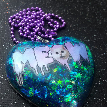 Meow Cat Pendant / Pastel Goth Creepy Necklace / Cute Cat Jewelry / Cat Lady / Resin Kitty / Kawaii Cat / Sweet Lolita Accessories Style