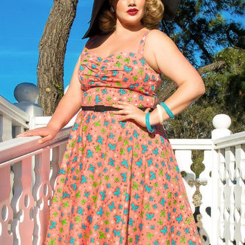 Pinup Couture Plus Size Nancy Dress in Mary Blair Peach Butterfly Print