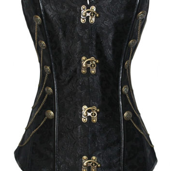 Plus Size Black Buckled Front Floral Pattern Corset with Chains