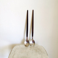 Midcentury Modern Serving // Wood and Silver MCM Fork and Spoon Set