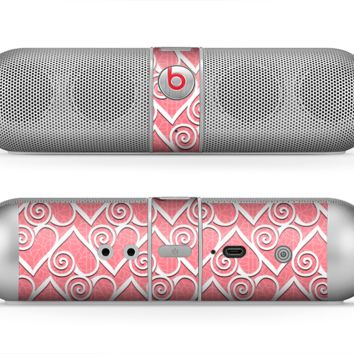 The Pink and White Swirly Heart Design Skin for the Beats by Dre Pill Bluetooth Speaker