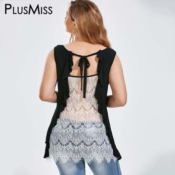Plus Size 5XL Sexy Ruffle Trim Lace Tank Top Women Summer 2017 Ladies Elegant Sleeveless Backless Blouse Top Femme Big Size