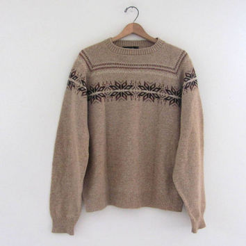 vintage wool snowflake sweater / pullover ski sweater // men's size L tall