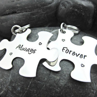 Forever and Always - Couple's Keychain Set - Matching Keychain - Interlocking Puzzle Pieces