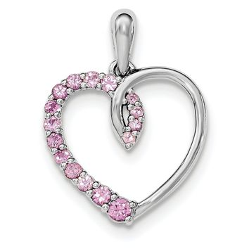 Sterling Silver Created Pink Sapphire Heart Pendant