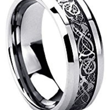 8MM Titanium Comfort Fit Wedding Band Ring Celtic Dragon Inlayed Ring
