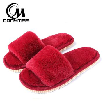 CONYMEE Winter Slippers Women Faux Fur Home Shoes Plush Slipper Ladies Cotton Indoor House Slippers Woman Flat Shoes