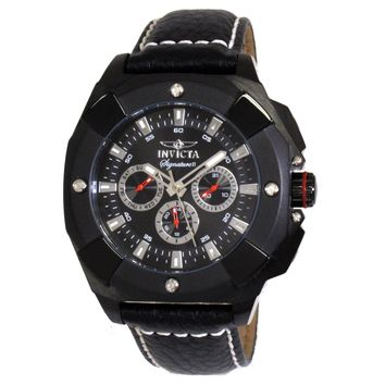 Invicta 7292 Men's Signature II Swiss Black Ion Plated Leather Strap Black Dial Watch