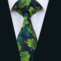 New Arrival  Fashion Men`s Tie Green Floral Necktie Silk Jacquard Ties For Men Business Wedding Party