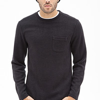 Waffle Knit Pocket Sweater Black