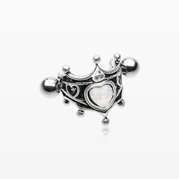 Heart Crown Opal Sparkle Cartilage Cuff Earring