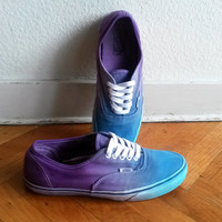 Blue and purple ombre Vans Authentic sneakers, upcycled vintage sneakers, size US Men's 10 (UK 9, EU 43)