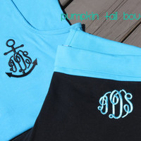 Monogrammed Yoga Capris or Pants Preppy Monogram - Youth and Adult Sizes