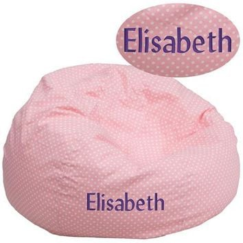 Personalized Oversized Light Pink Dot Bean Bag Chair