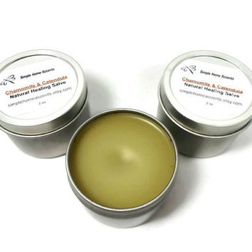 Chamomile and Calendula Salve, Natural Salve, Skin Balm, Gift under 10