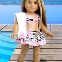 Fun with the Sun - 4 piece bikini outfit - skirt, bikini top, matching flip flops and beach blanket - 18 Inch Doll Clothes (doll not included)