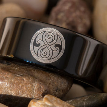 Tungsten Ring 8mm Black Dome Doctor Who Time Lord Watch Design