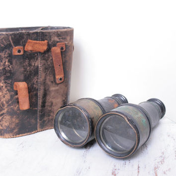 Antique Binoculars with Leather Case by the Merchant Marine in Paris