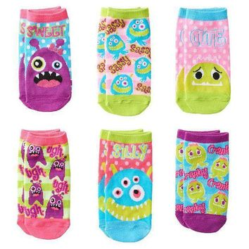 Pink Cookie 6 Pk. ''sweet'' Monster Polka Dot No Show Socks   Girls Size: