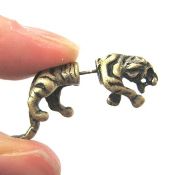 Fake Gauge Earrings: Realistic Tiger Cat Shaped Plug Earrings in Brass