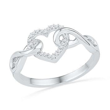 10kt White Gold Womens Round Diamond Infinity Twist Heart Ring 1/10 Cttw