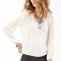 Ribbon-Trimmed Peasant Top